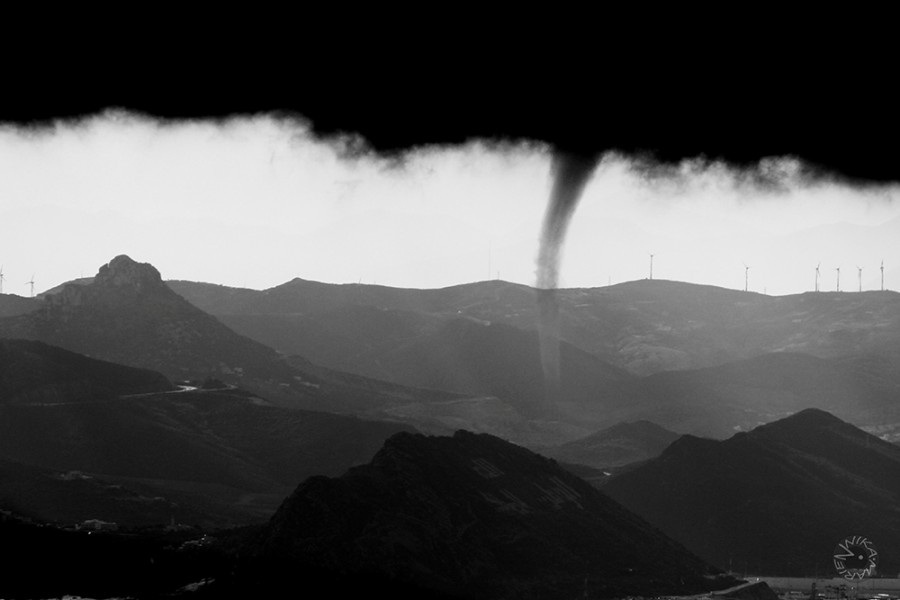 Tornado over the sea between Marroko and Spain
